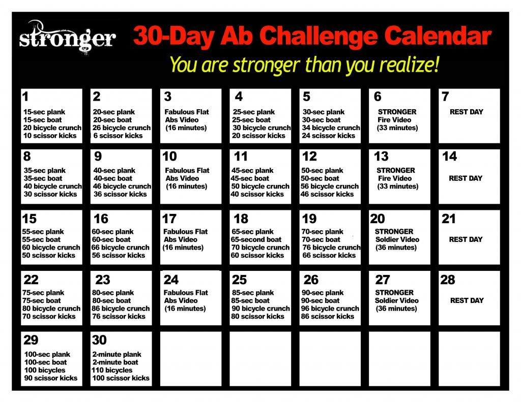 Livestrong – Simple Healthy Living | 30 Day Ab With 30Days Abs Challenge Printable