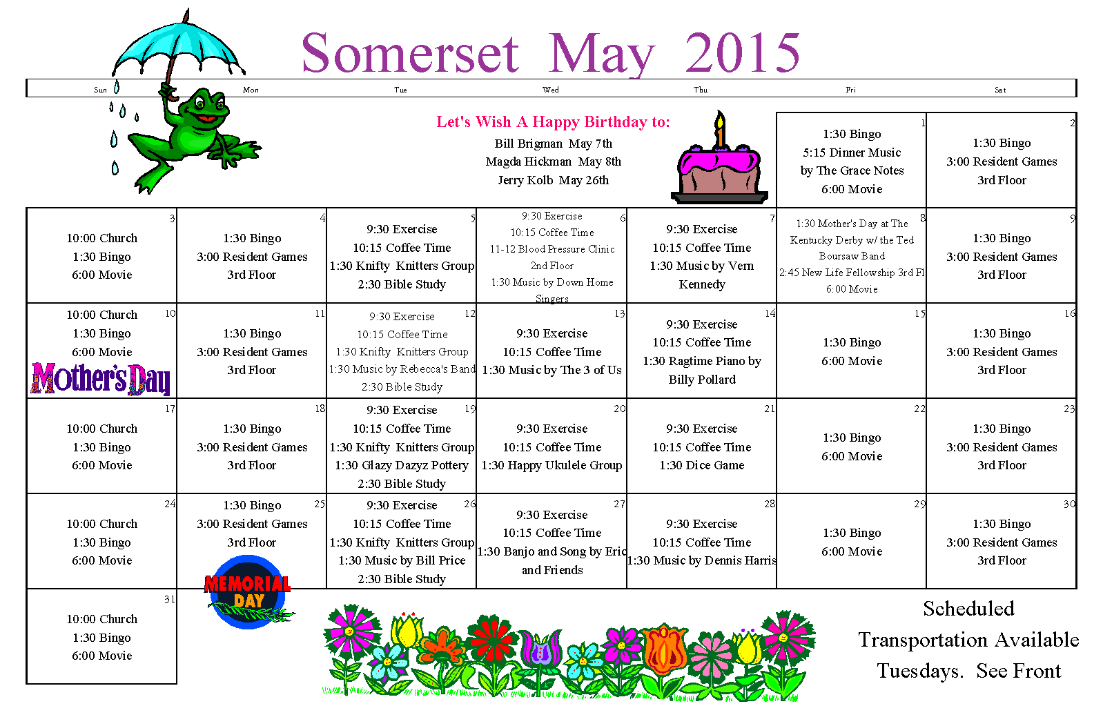 May Senior Calendar Longivew Wa | Somerset Senior Living with Sample Caendar For Assisted Living Facilities