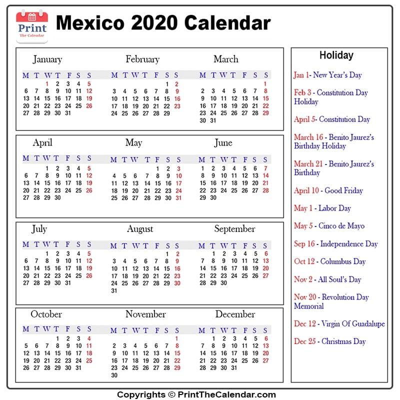 Mexico Holidays 2020 [2020 Calendar With Mexico Holidays] Pertaining To Mexican Caladener Names