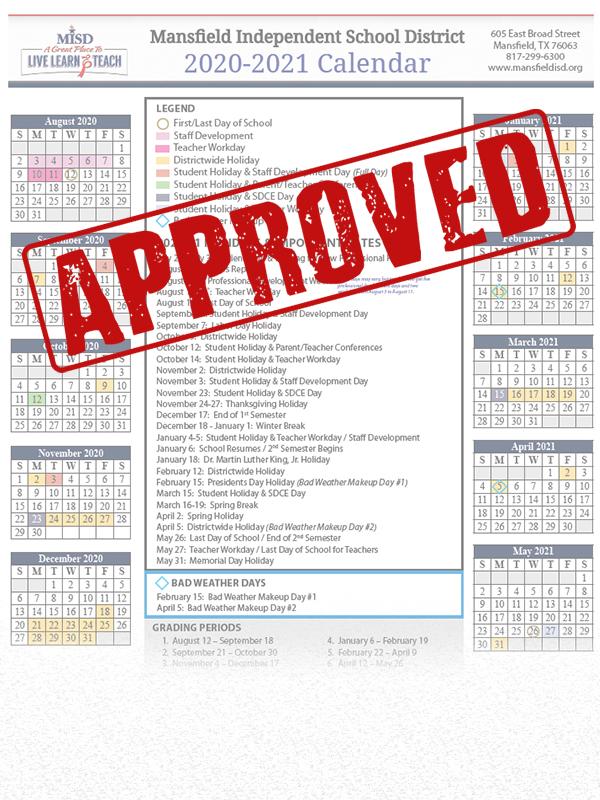 Misd School Board Approves 2020 21 Calendar | Misd Inside Fort Worth Isd Calendar 2021
