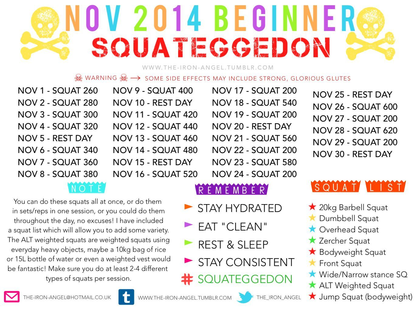 Nov.2014. Squateggedon | Holiday Fitness Motivation, Squat Pertaining To Squat Challenge For Beginners Printable
