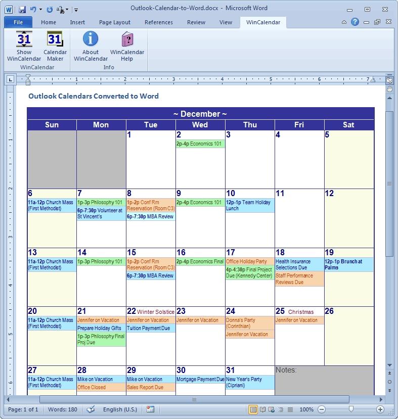 Outlook 2019 Calendar Printing Word Wrap | Calvert Giving Inside Export Excel To Calendar