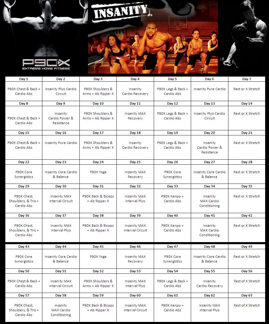 P90X Insanity Hybrid: Free Downloadable Workout Sheets With 90 Day Calendar Pdf