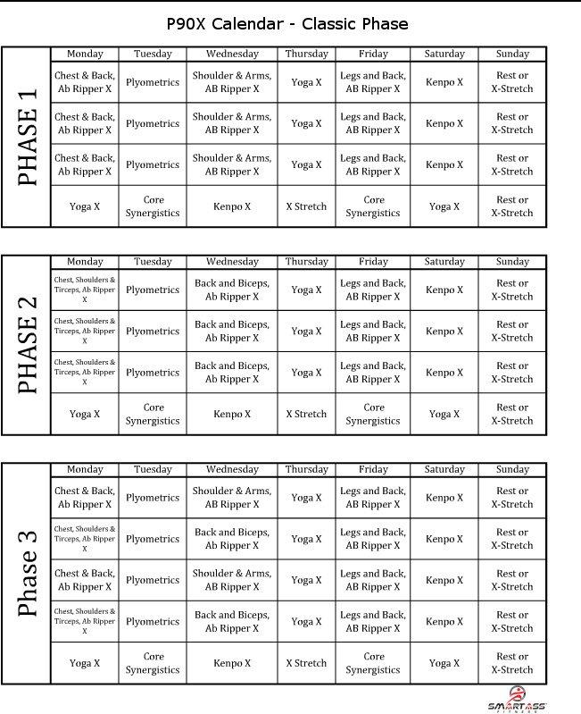 P90X Schedule | Smart Ass Fitness Regarding 90 Day Calendar Pdf