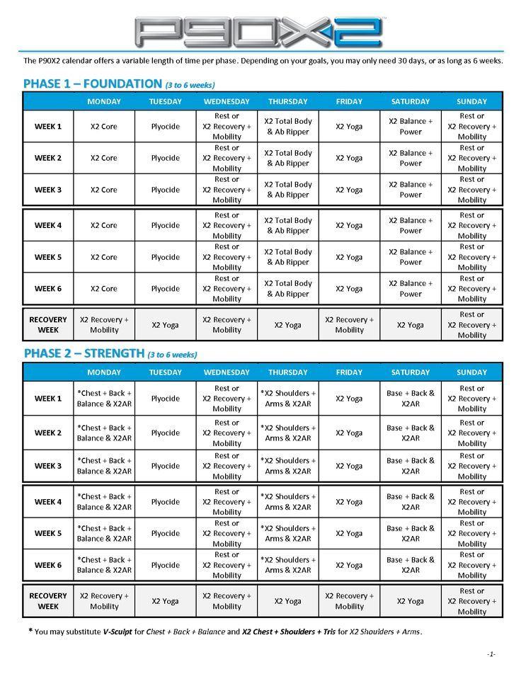 P90X2 Schedule - Google Search | Evde Egzersiz, Egzersiz for 90 Day Calendar Pdf