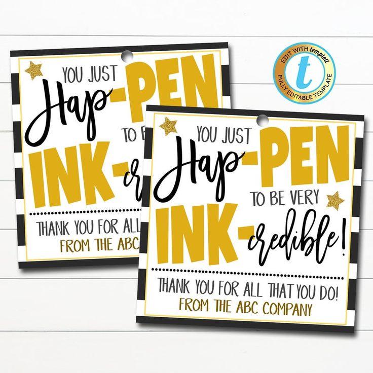 Pen Thank You Gift Tags Hap Pen To Be Ink Credible Teacher Inside Teacher Appreciation Week 2021