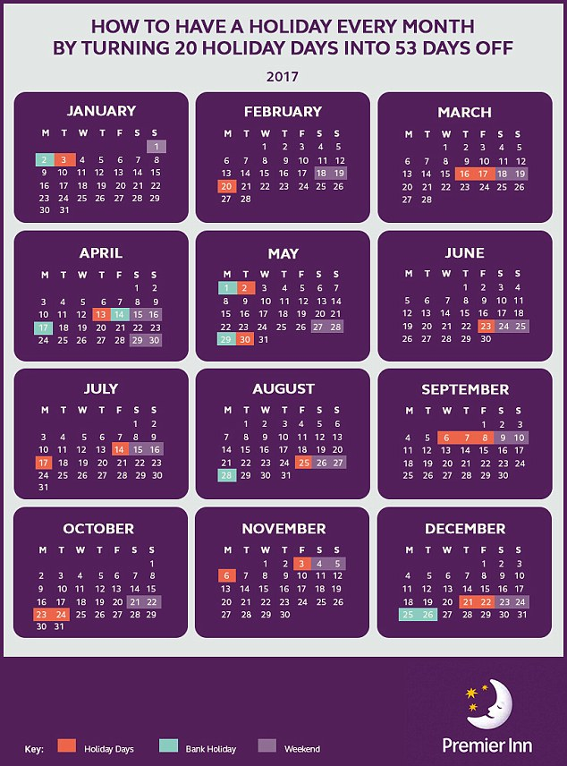 Premier Inn Shows How You Can Turn 20 Days Holiday Into 53 With Every Day A Holiday Calendar