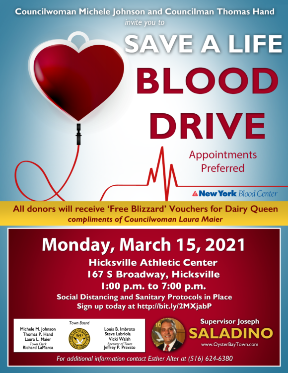 Residents Encouraged To Donate Blood March 15Th In Within Town Of Oyyster Bay 2021 Town Calendar