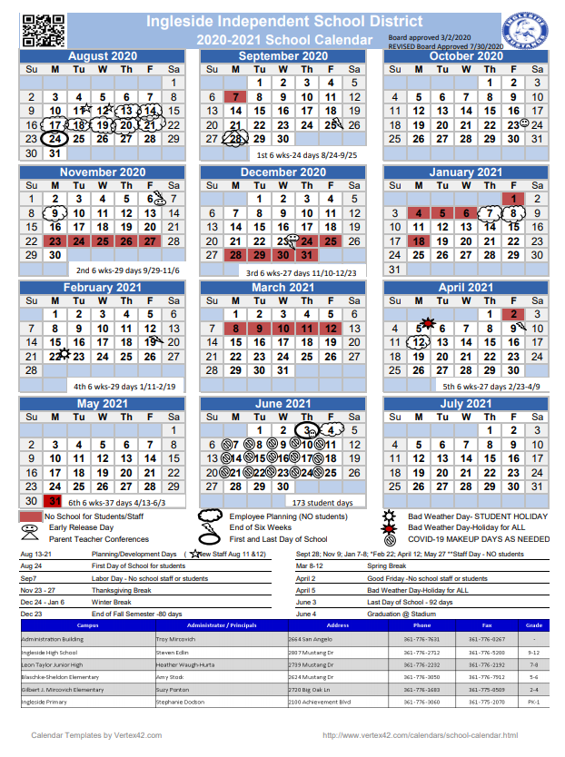 Revised 2020-2021 Calendar | Ingleside High School with regard to Texas Tech School Calendar 2020-2021