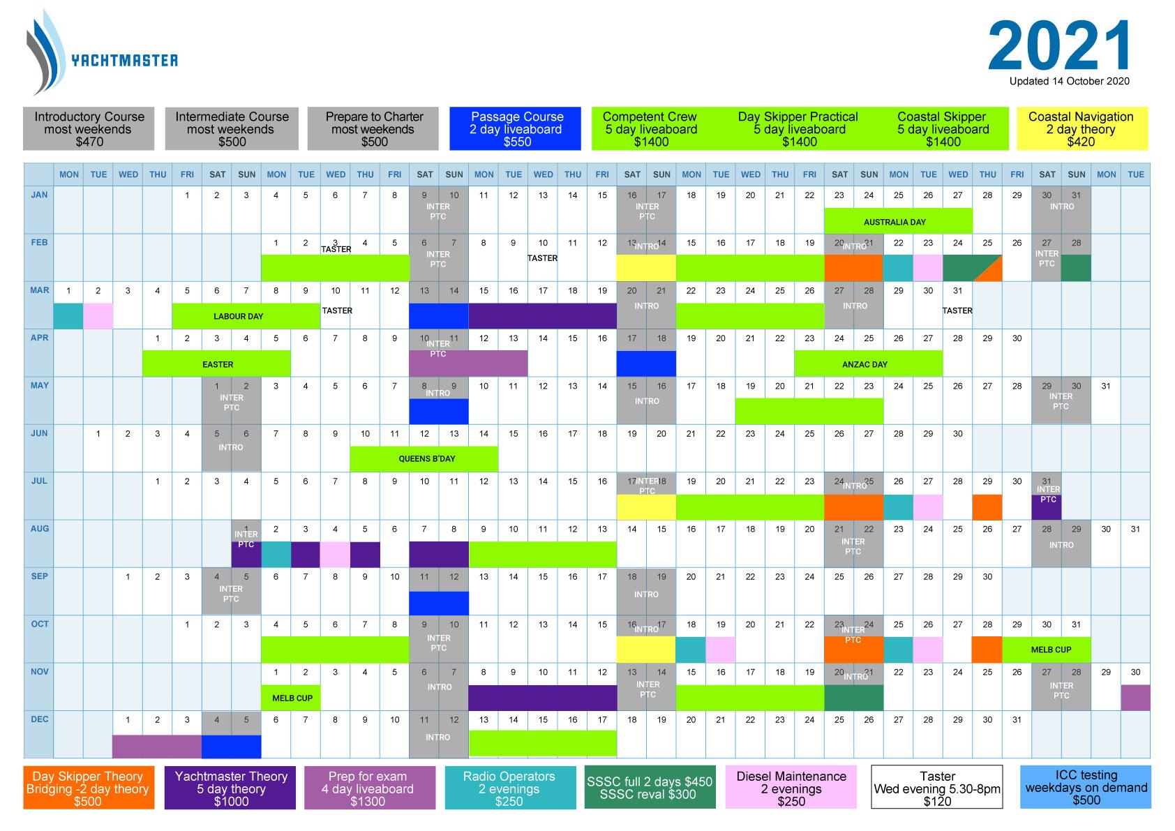 Sailing Calendar | Yachtmaster Sailing School intended for Full Sail 2021 Calendar