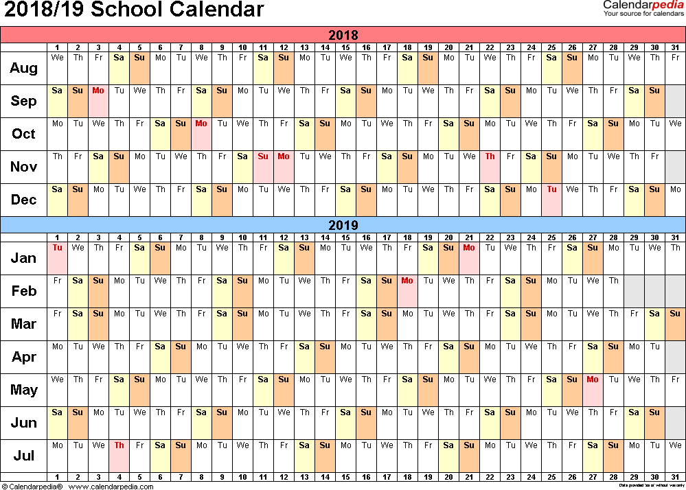 School Calendar 2018 2019 – St Louis Secondary School Dundalk Throughout Mnps 2021 Printable