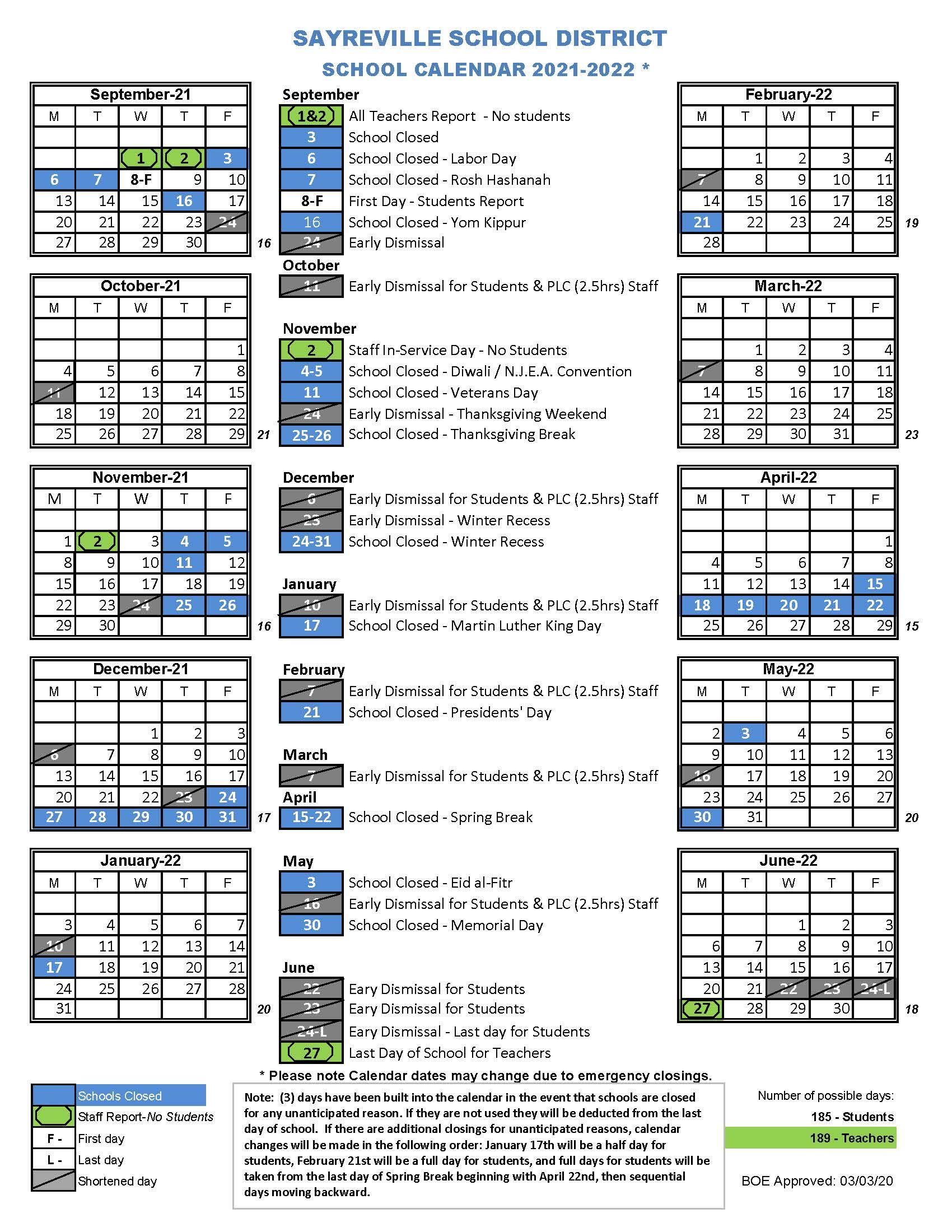 School District Calendars – Sayreville Public Schools With Regard To L Victorville School Distict Canlendar 2020 2021 For What Schools