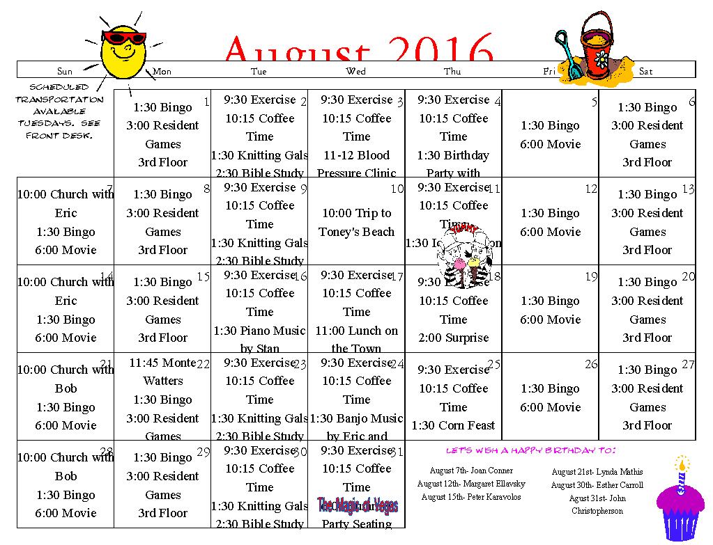 Senior Calendar August 2016 | Somerset Senior Living with Assisted Living Calendars
