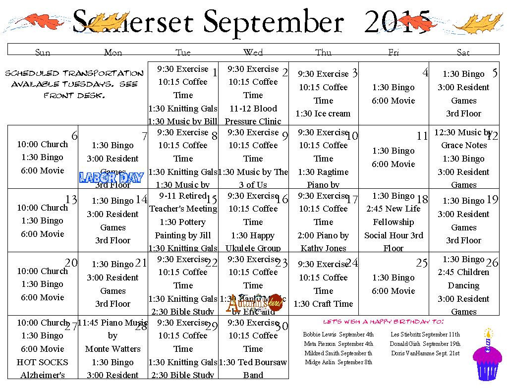 Senior Calendar Longview Wa « Somerset Assisted Living In Assisted Living Calendars