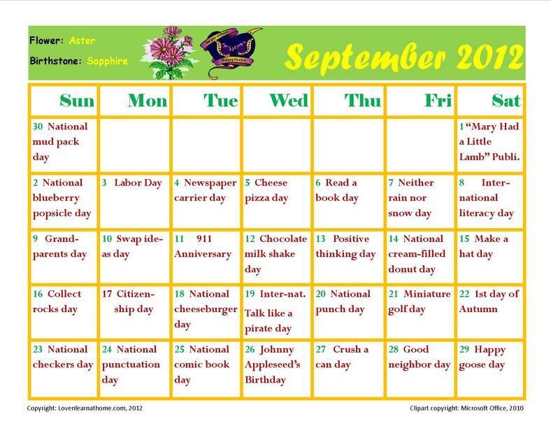 September Holiday Activity Calendar | September Activities, Holiday Calendar, September Preschool For Every Holiday Calendr