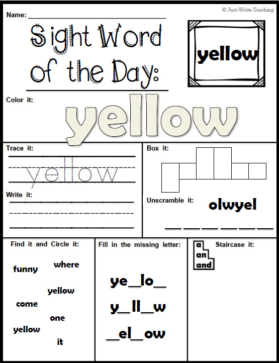 Sight Word Of The Day – Dolch Pre Primer – 40 Words, 80 Pertaining To Word Of The Day Pfrint
