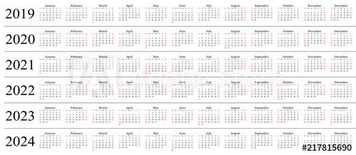 Six Year Calendar - 2019, 2020, 2021, 2022, 2023 And 2024 Throughout 4 5 4 Retail Calendar 2019 2022