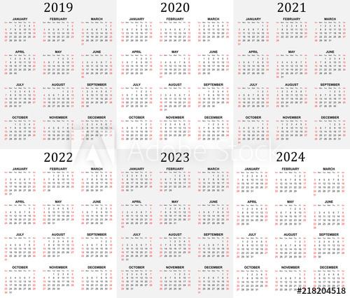 """Six Year Calendar – 2019, 2020, 2021, 2022, 2023 And 2024 With 4 5 4 Retail Calendar 2019 2022"