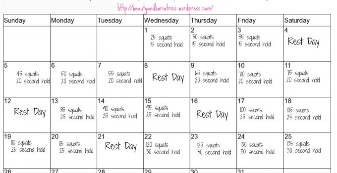 Squat Challenge   Beauty And Bariatrics pertaining to Squat Challenge For Beginners Printable