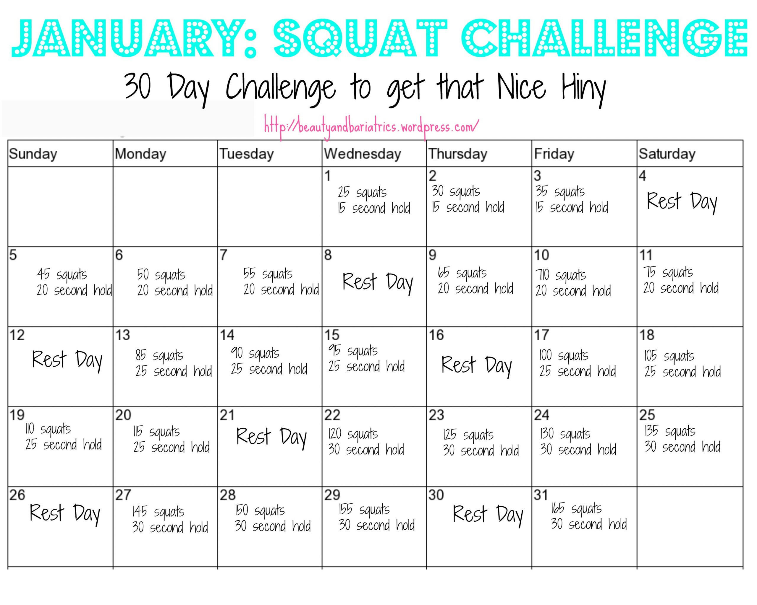 Squat Challenge | Beauty And Bariatrics Pertaining To Squat Challenge For Beginners Printable