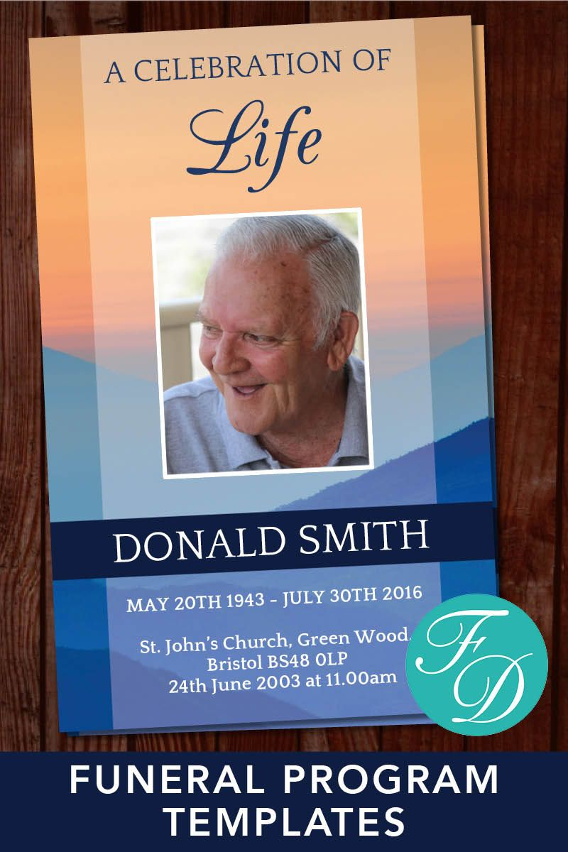 Sunset Funeral Program Template   Celebration Of Life With Sunset Glasgow Times Printable Format