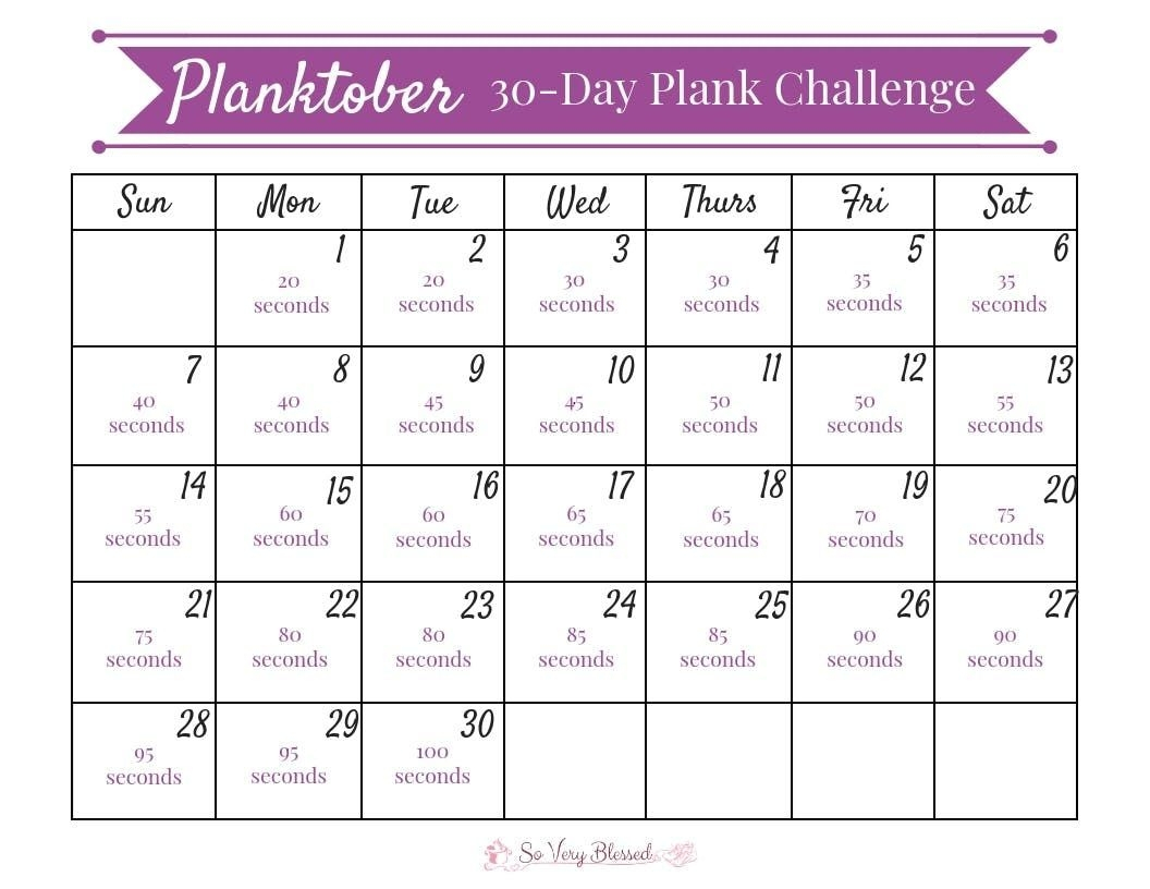 The 30 Day Plank Challenge Calendar | Get Your Calendar In 30 Days Calendar