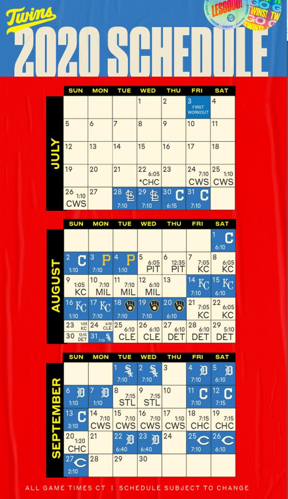 Twins Release 2020 Regular Season Schedule Within St Louis County Court Calendar Mn