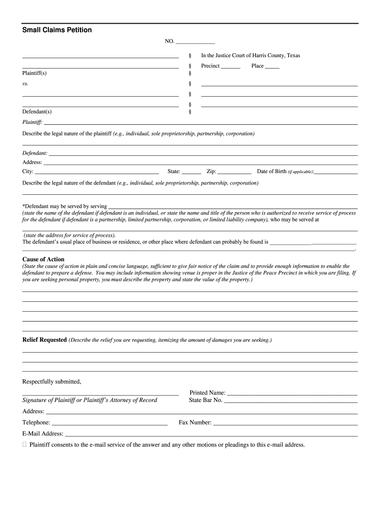 Tx Small Claims Petition - Complete Legal Document Online Intended For Nc Court Date By Defendant