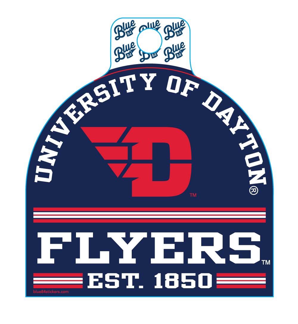 Vinyl Sticker University Of Dayton Arched Over Flying D For University Of Dayton Academic Calenda