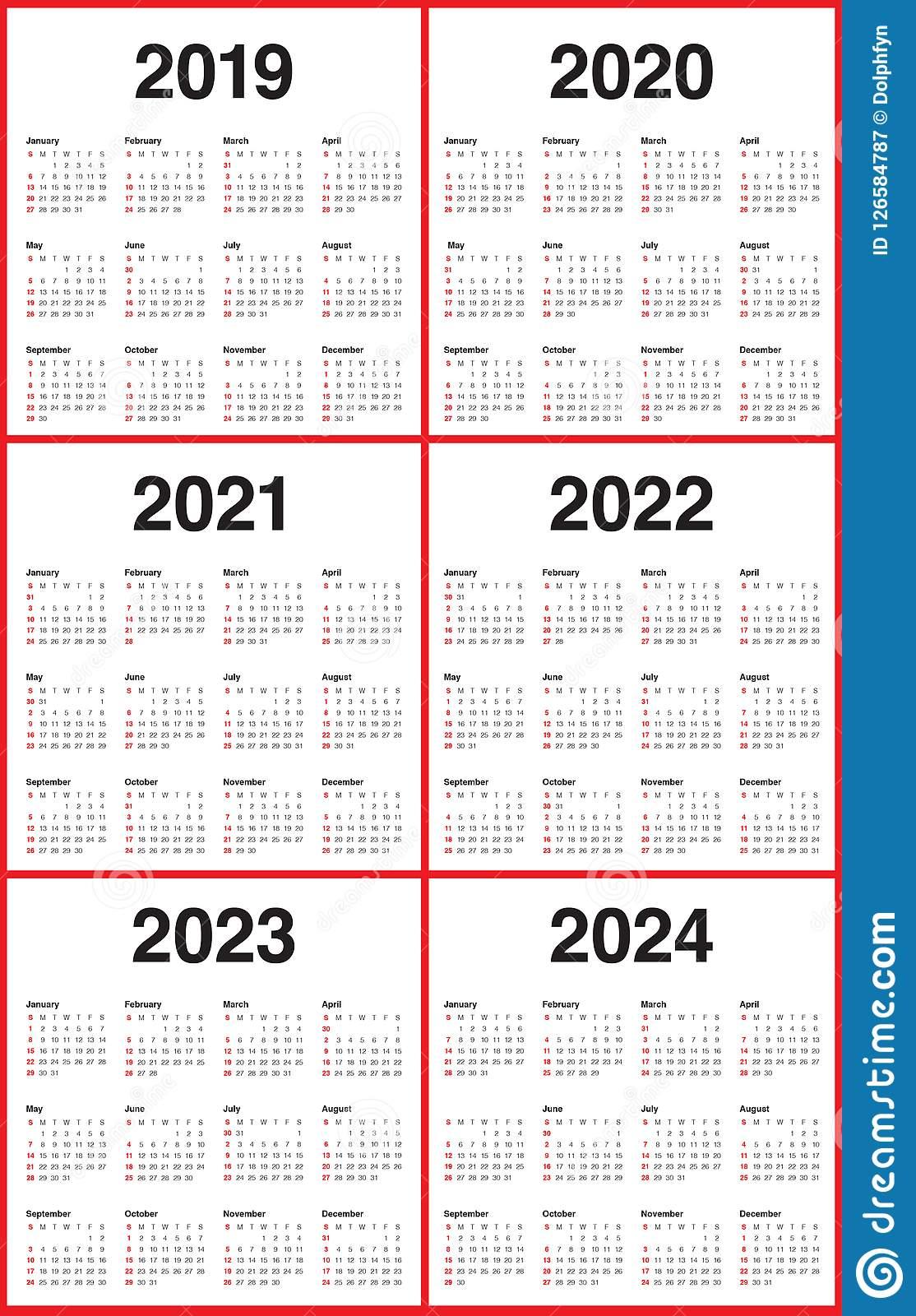 Year 2019 2020 2021 2022 2023 2024 Calendar Vector Design Within 4 5 4 Retail Calendar 2019 2022